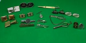 Lot of Tie Clips Cuff Links Jewelry Vintage Some Swank Hickok unbranded