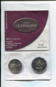 2001-20-amp-50-cent-Australia-Centenary-Federation-2-Coin-Set-UNC-Queensland-QLD