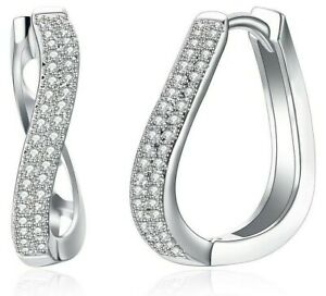 14K-White-Gold-Huggie-Hoop-Earrings-Made-with-Swarovski-Crystals-Free-Gift-Box
