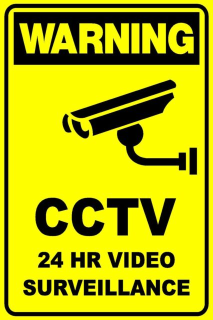CCTV 24HR VIDEO SECURITY SURVEILLANCE - THICK PLASTIC / POLY SIGN - 300 X 225MM