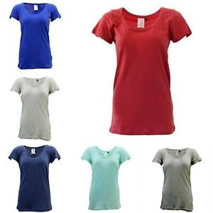 Women-039-s-100-Cotton-Basic-Tee-Scoop-U-Neck-Top-Casual-Short-Sleeve-T-Shirt