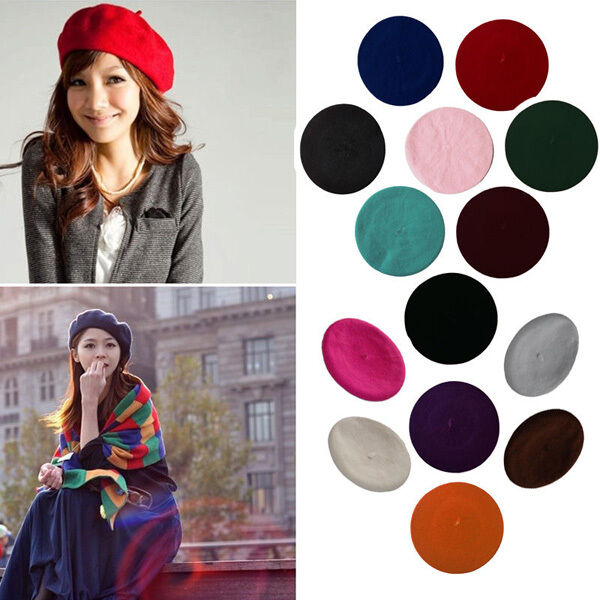 16Color Classic Girl Warm Wool Winter Beret French Artist Beanie Hat Ski Cap Hat
