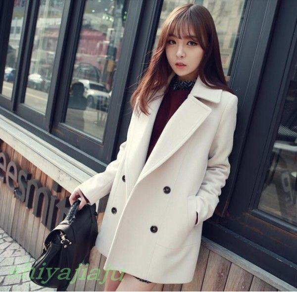 Womens Fashion Winter Lapel Double-breasted Wool Coat Students Casual Overcoat