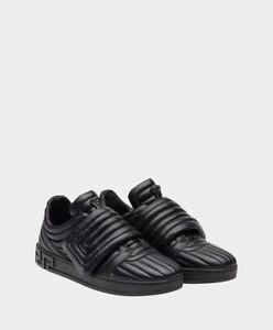 082eb49dce New  895 Versace Black Medusa Quilted Eros Greek Keys Strap Sneakers ...