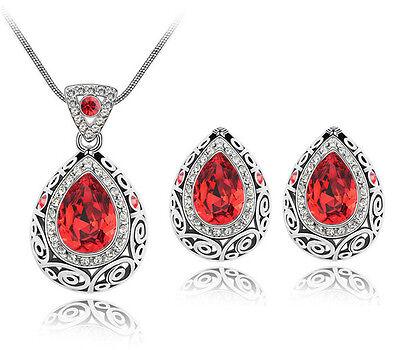 Luxury Vintage Deep Red Teardrop Jewellery Set Stud Earrings & Necklace S762