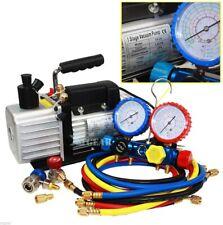 48cfm Vacuum Pump 4valve Manifold Gauge R410a R134a R22 Hvac Ac Refrigerant Set