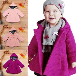 13796e73c Toddler Kid Baby Girl Hooded Trench Coat Wind Jacket Winter Outwear ...