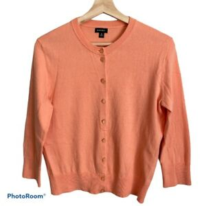 Nine-West-Women-039-s-3-4-Sleeve-Button-Up-Sweater-Cardigan-Orange-Medium
