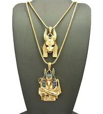 """30/"""" Box Chain Hip Hop Fashion Necklace Set Egypt Anubis Jackel Pendant 2mm 24/"""""""