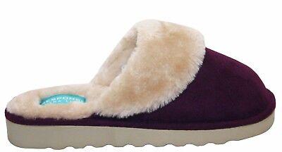 Nuevo Para mujeres Damas Slip on Mulas Cálido Invierno Interior Piel Forrada Acogedor Zapatillas Zapatos
