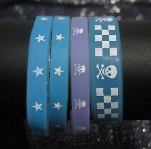 4x-Great-child-039-s-wirstbands-in-blue-and-lilac-skull-and-cross-bones