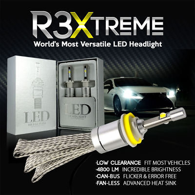 2PCS Extreme H7 LED Headlight Conversion 6000K 80W 9600 Lumens CANbus R3 Fanless