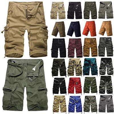 Men Cotton Cargo Pants Shorts Trousers Casual Military Combat Army Pants SZ29-44