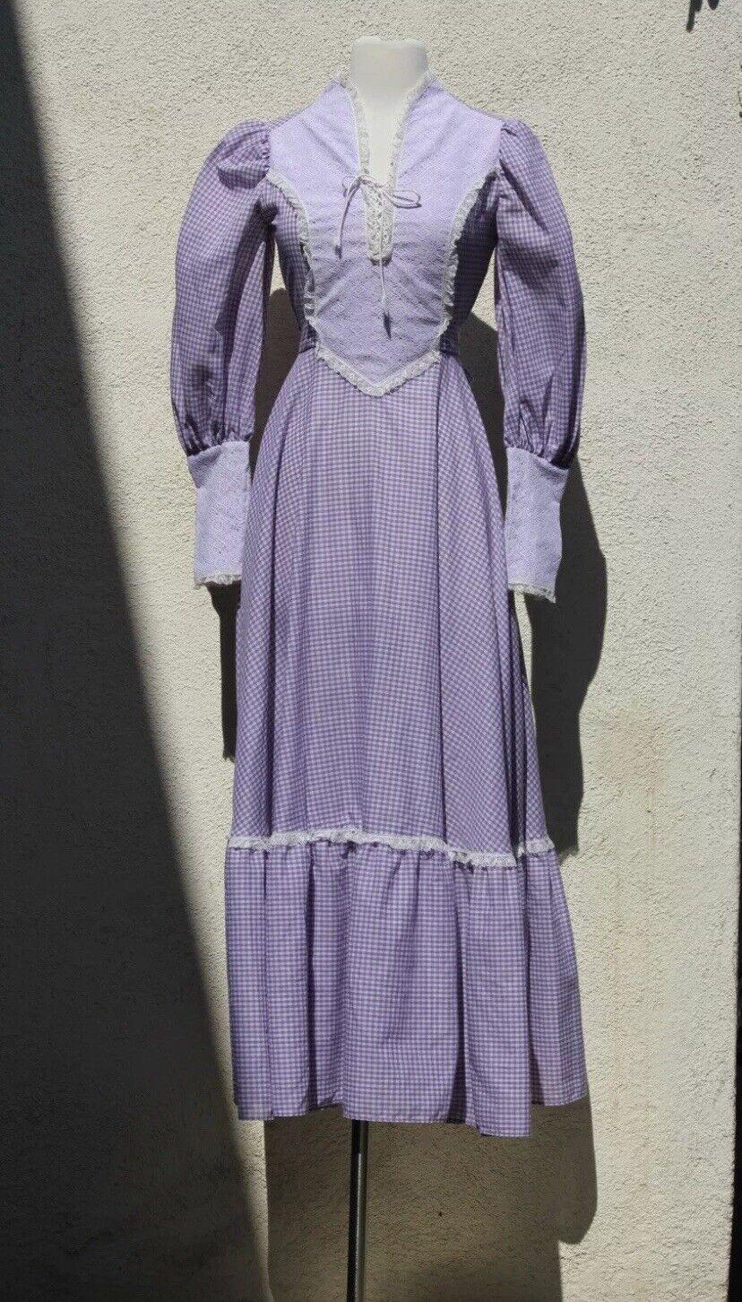 Vintage 1980s GUNNE SAX style Lavender Cotton Dre… - image 1