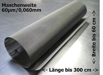 Edelstahlgewebe für Trommelfilter Bogensieb usw 0,060mm 60µm //// bis zu 300x60cm