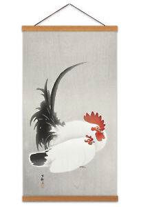Ohara Koson Rooster And Hen Canvas Wall Art Print Poster with Hanger 24x12 Inch