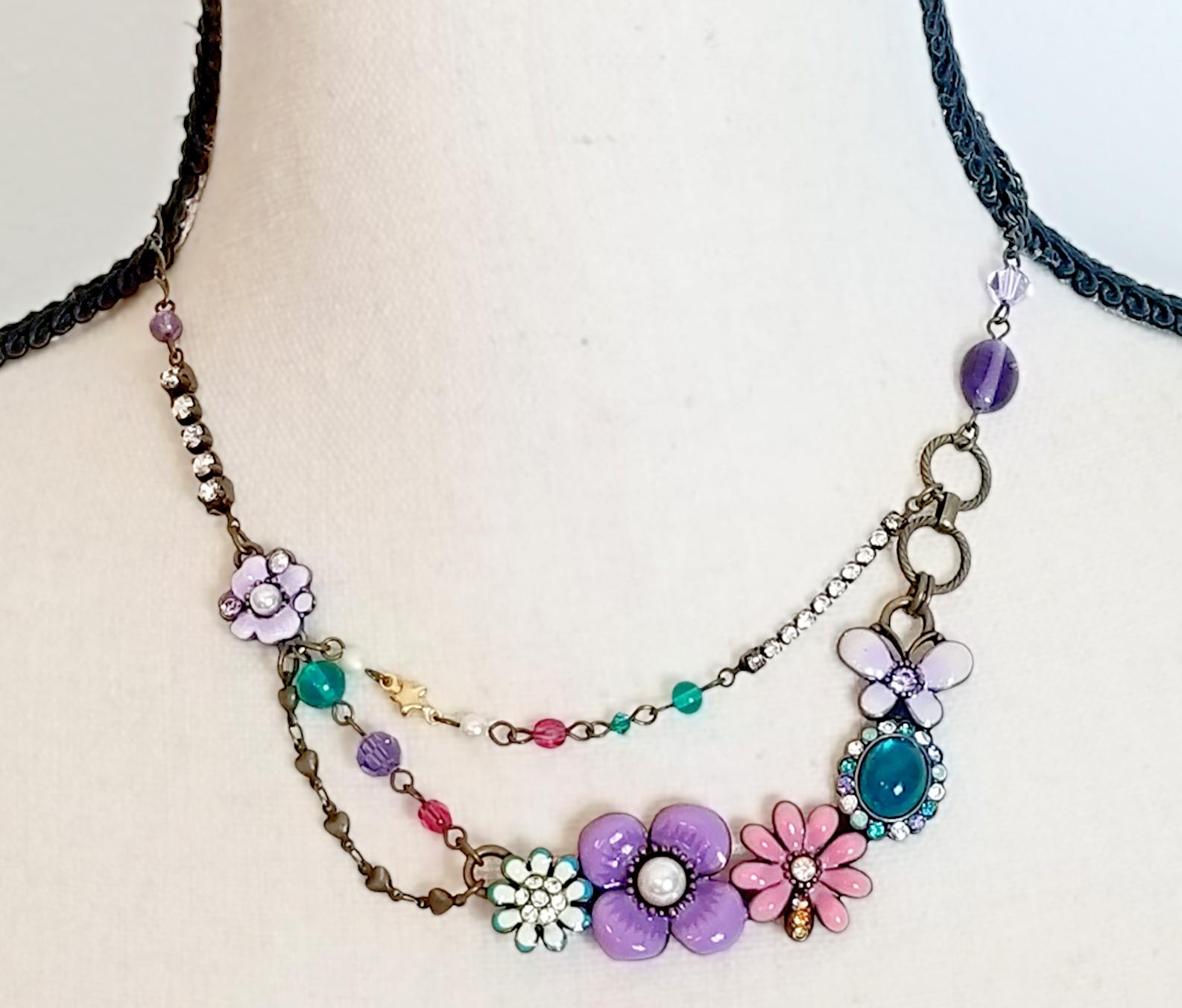 Vintage Anna Sui Flower Crystal Rhinestone Caboch… - image 2