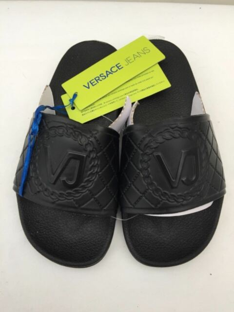 a05f39f95 VERSACE JEANS Black Heavy Rubber Large Logo Sandals Slides Sizes UK 2.5   3  BNIB