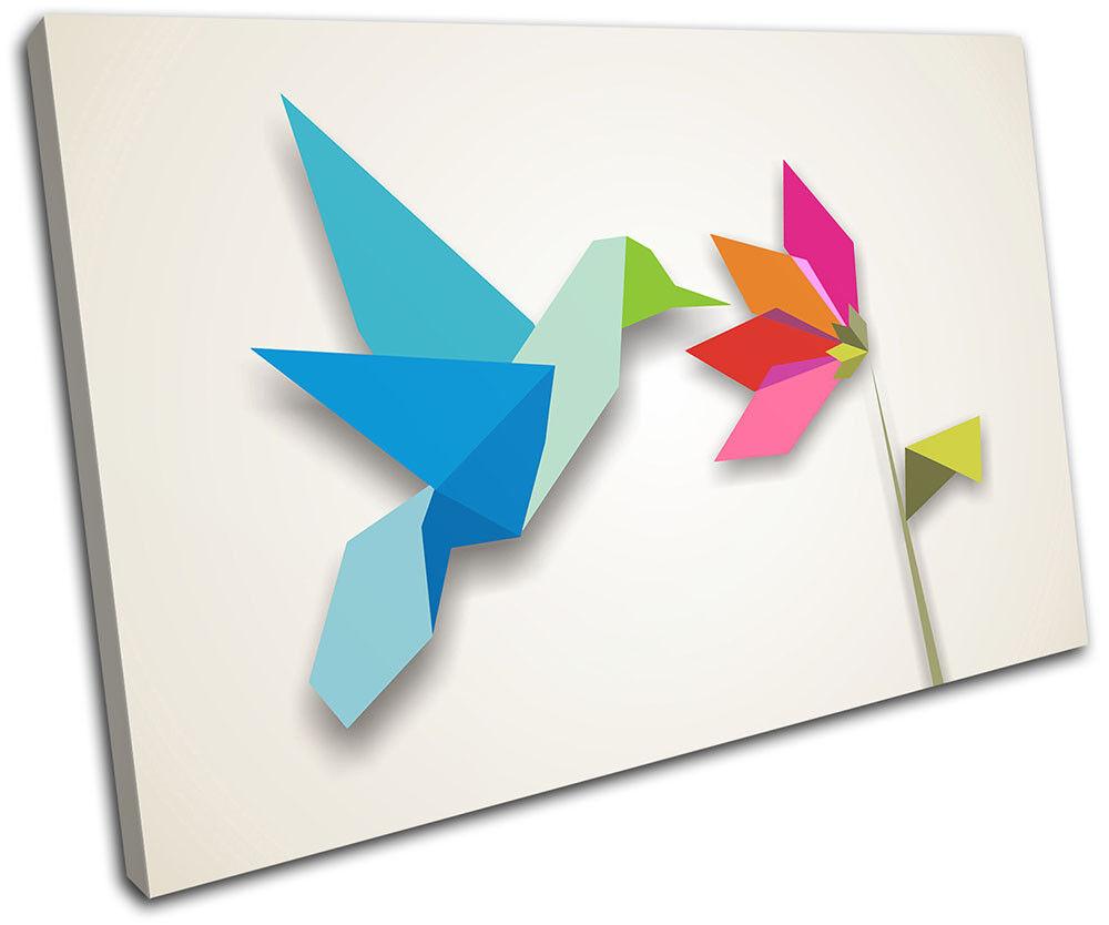Bird Kingfisher Origami Gift Illustration SINGLE TELA parete arte foto stampa