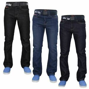 Mens-Regular-Fit-Jeans-Straight-Leg-Denim-Pants-Casual-Trousers-With-Free-Belt