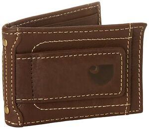 Carhartt-Men-039-s-Brown-Full-Grain-Leather-Magnetic-Front-Pocket-Money-Clip-Wallet