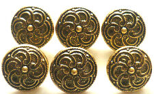 6 Trachtenknöpfe  Metall  altgold 14 mm