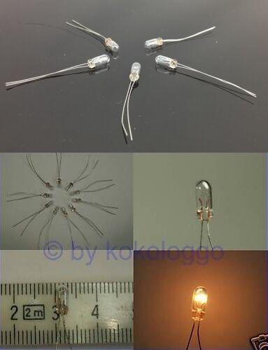 S045-20 Stück Mini Micro Lämpchen klar 3mm 14-16V mit Draht Glühlämpchen