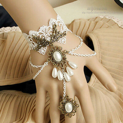Bridal Pearl Drop Tassel Flower White Lace Adjustable Ring Bracelet SET Gothic