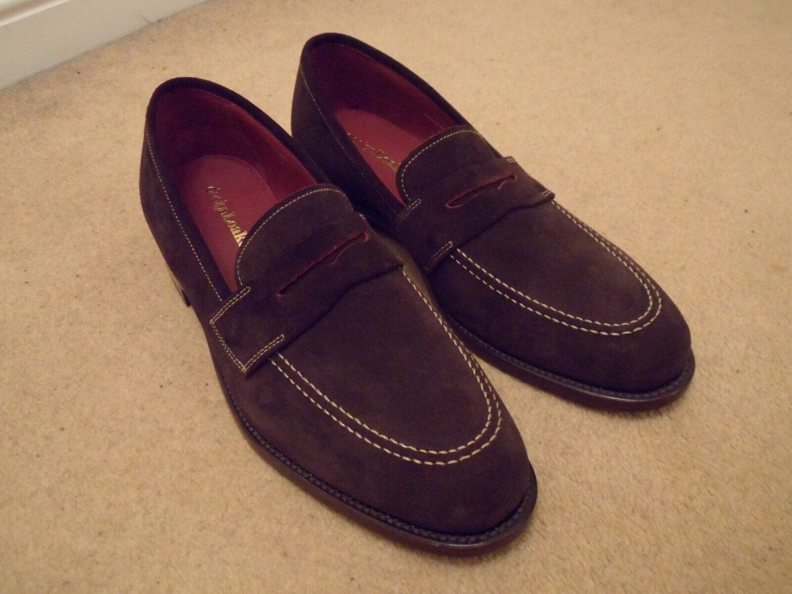 NEW Loake CAMDEN SADDLE F Brown Suede Leather Slip On Loafers Size UK 8 EU 42