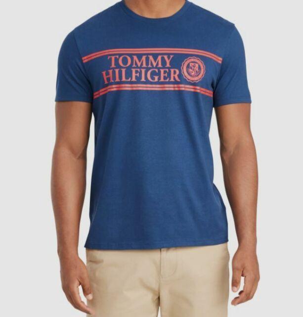 $95 Tommy Hilfiger Men's Blue Graphic Logo Short-Sleeve Tee Crew-Neck T-Shirt L