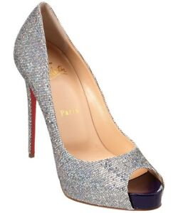 a9853a8ff8f1 100% AUTHENTIC USED WOMEN LOUBOUTIN No PRIVE 120 GLITTER PUMPS HEELS ...