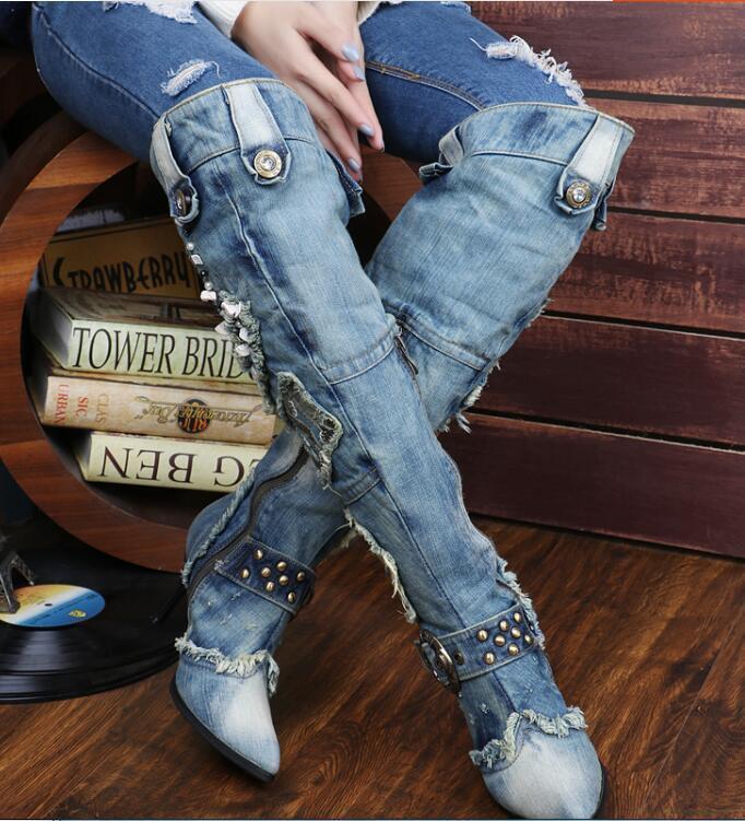 Punk donna Vintage Jean Block Heels Colorees Stone Over the Knee stivali Denim scarpe