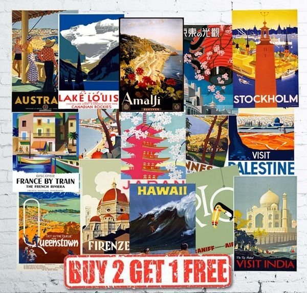 Vintage British Travel Railways LNER GWR LMS Train Retro Posters Card A5//A4//A3