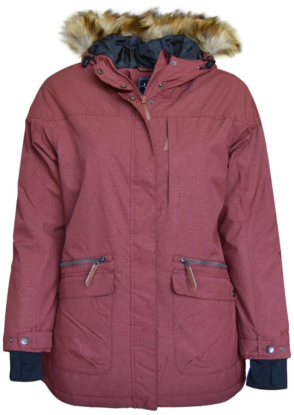 New Pulse Women's Plus Size 1X 2X 3X Insulated Parka 3 4 Societe Coat Wine