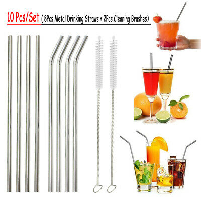8X Stainless Steel Metal Drinking Straw Straight Reusable Washable 1 Brush
