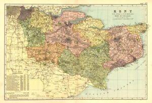 Kent. County Carte. Parliamentary Constituencies Divisions. Chemins De Fer. Bacon 1902-afficher Le Titre D'origine
