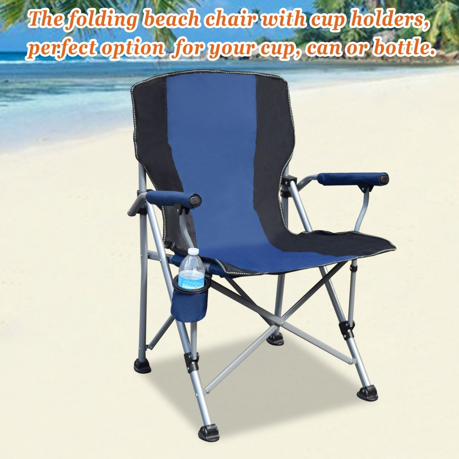 Folding Camping Chair With Cup Holder Picnic Beach Oversized Armchair Seat