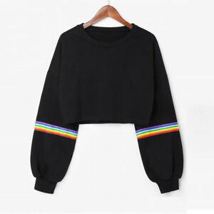 UK-Womens-Long-Sleeve-Crop-Short-Sweatshirt-Jumper-Casual-Loose-Pullover-Tops-AB
