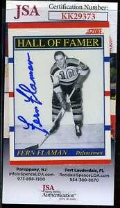 Fern Flaman JSA Coa Hand Signed 1990 Score Autograph