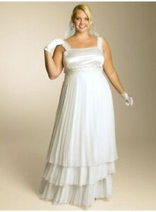 Größe Verzirrter Igigi 12 Weiß Chiffon Brautkleid Madelaine Abendkleid Ärmellos O5Cq5xz