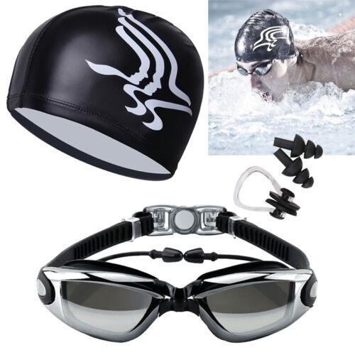 Swimming Glasses Goggles UV Protection Non-Fogging Swim Cap Nose Clip Men/&Women