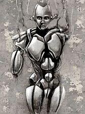 ART PRINT PAINTING DRAWING FANTASY CYBORG ROBOT GIRL TATTOO DESIGN LFMP1031