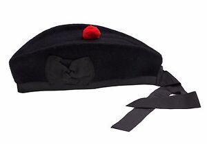 Glengarry Hat Plain Black -100% Pure Wool Classic Scottish Design SIZES 50-64CM