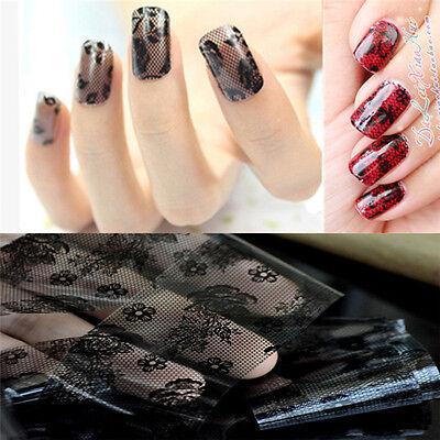 Fashion 3D Black Lace Flower Transfer Foil Stickers Decals Nail Art Decoration
