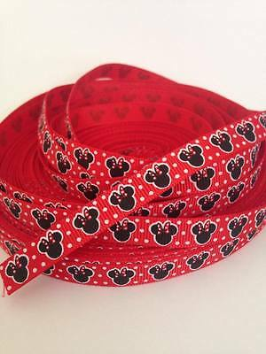 "Minnie Mouse Ribbon 3/8"" Wide 2m is only £1.29 NEW FREE P&P"