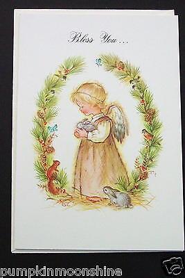 # I 64- Vintage Unused Xmas Greeting Card Pretty Angel With Woodland Creatures