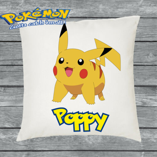 Personalised Pokemon pikachu Cushion Cover Add Your Name Great Gift