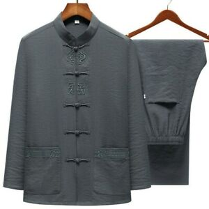 Mens-Linen-Blend-Chinese-Tang-Suit-Kung-Fu-Shirt-Pants-Tai-Chi-Uniform-Set-2pcs
