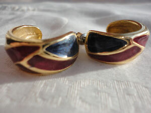 Vintage-deco-goldplated-orange-burgundy-blue-enamel-16gram-23mm-pierced-earrings