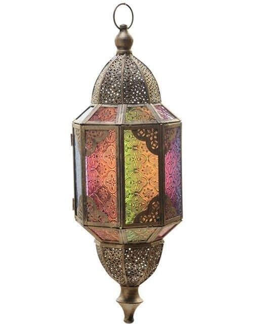 Marokkanische hängende Laterne gebürstetes Metall Bunt Glas Orientalisch 46 cm